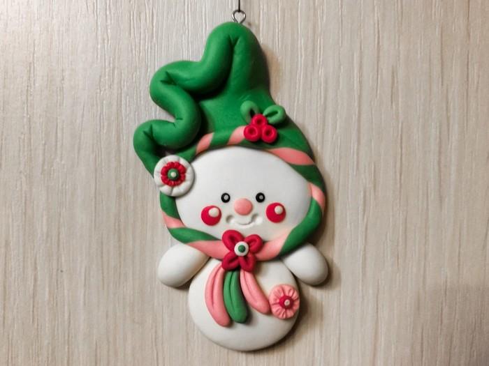 Снеговик и его друг Медвежонок Полимерная глина, Новый Год, Снеговик, Рукоделие