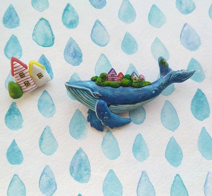 Чудо-юдо рыба-кит. Лепка, Полимерная глина, Рукожоп, Рукоделие без процесса