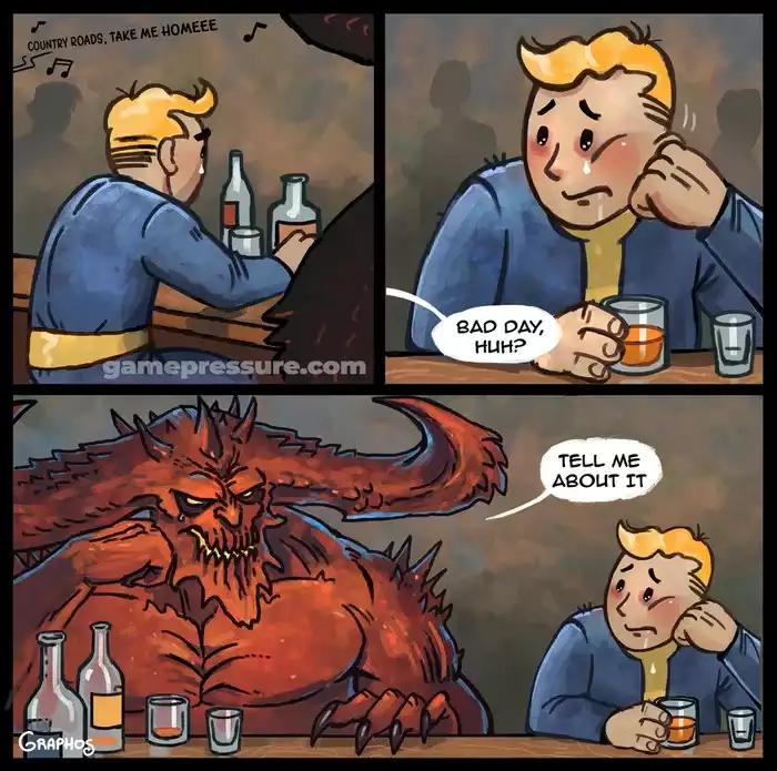 Плохой день Diablo, Fallout, Vault Boy, Blizzard, Bethesda, Игры, Комиксы, Crossover