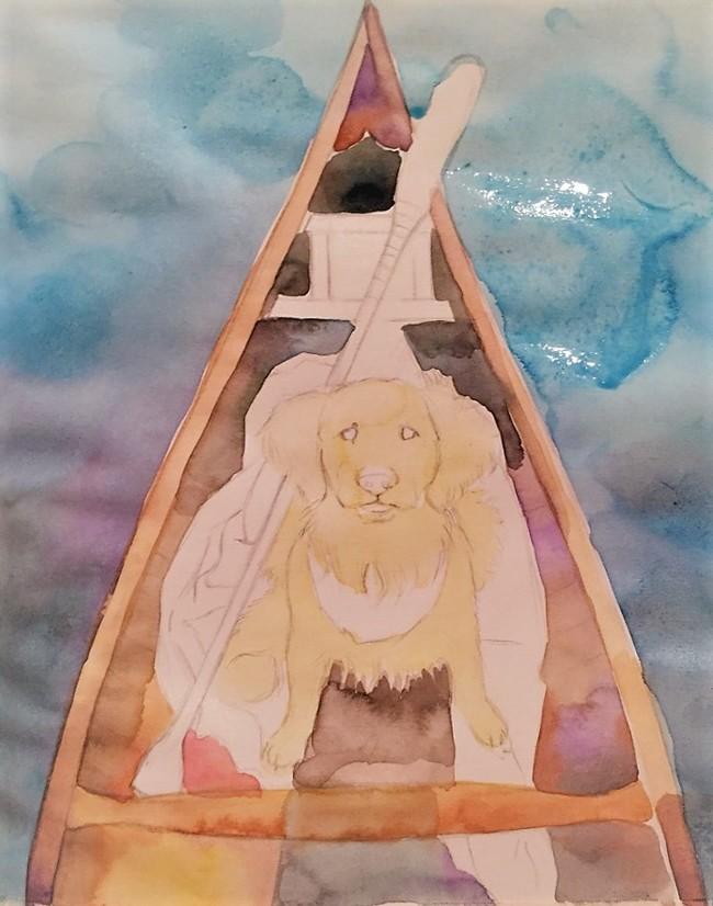 Морской пес (Акварель) Лодка, Море, Собака, Животные, Творчество, Рисунок, Акварель, Okta23, Длиннопост
