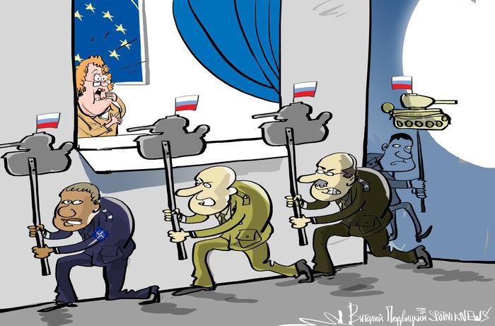 США подставляет Европу. ОПА! Неожиданность? Не-а! Политика, США, Россия, Трамп, Ракета, Европа, Карикатура, Юмор