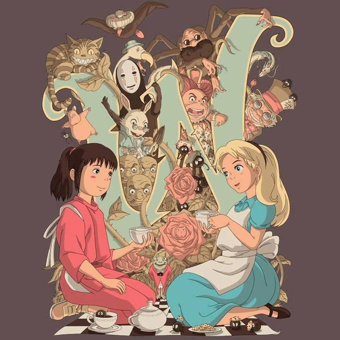 Унесенная призраками и Алиса в стране чудес Унесенная призраками, Алиса в Стране чудес, Картинка без текста, Аниме, Арт