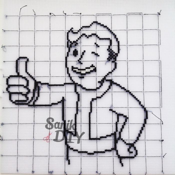 Vault Boy Рукодельники, Вышивка крестом, Fallout, Рукоделие с процессом, Длиннопост