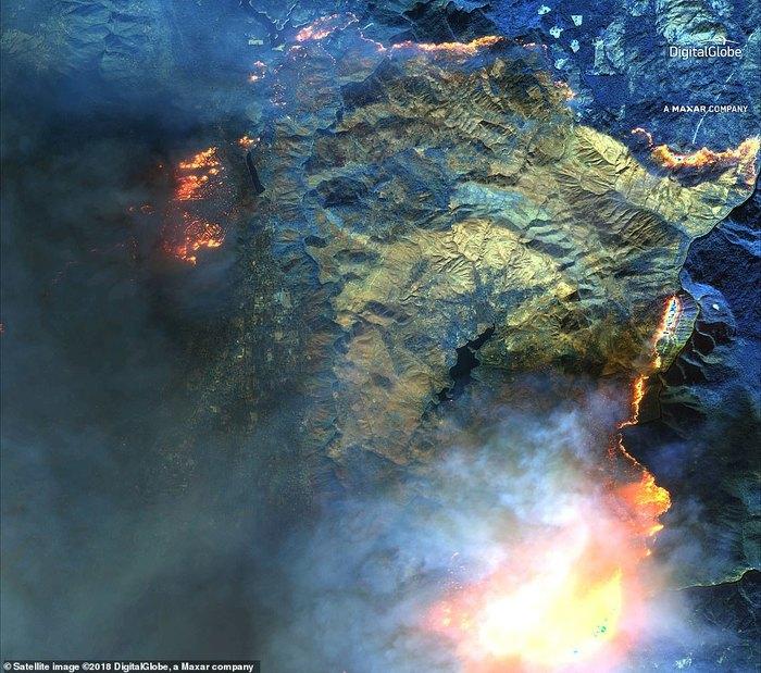 Пожары в Калифорнии - вид из космоса Пожар, Калифорния, Вид сверху, Стихийное бедствие