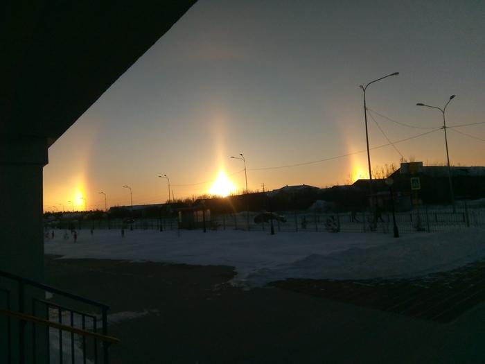 Закат в приполярье. Солнце, Закат, Север, Снег, Гало