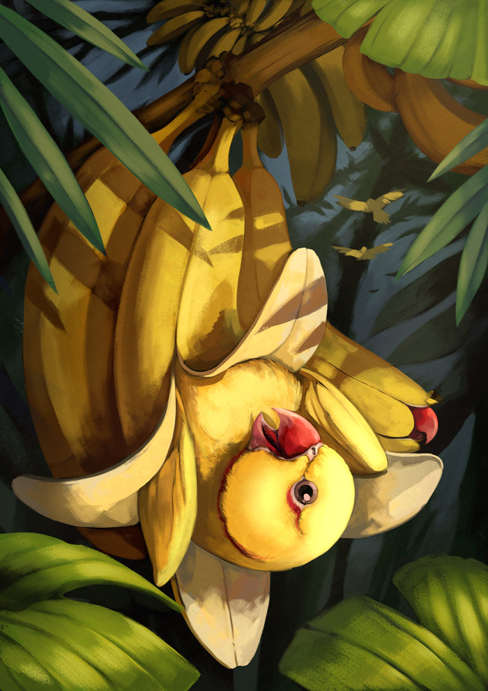 Banana Parrot Арт, Попугай, Банан, 28gooddays