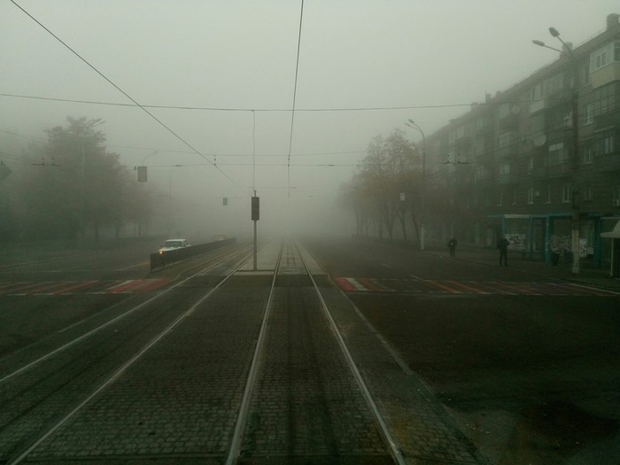 Туман, туманище Трамвай, Трамвайные пути, Туман, Электротранспорт, Работа, Рельсы, Юз