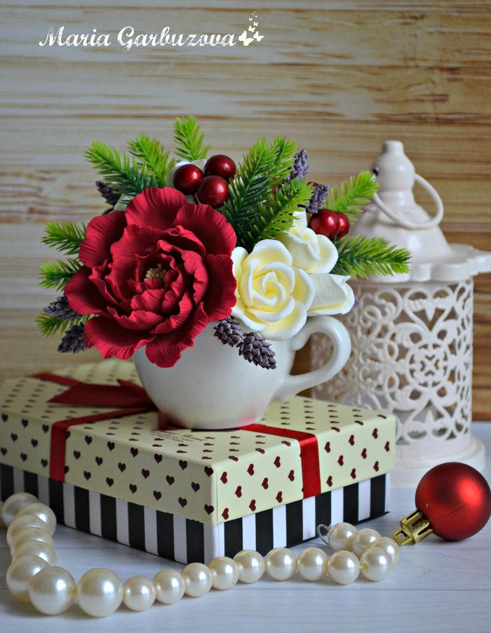 Новогодние композиции с цветами ручной работы из полимерной глины Своими руками, Полимерная глина, Длиннопост