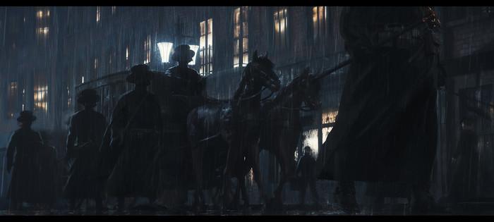 Дождь Арт, Рисунок, Карета, Дождь, Чумной доктор