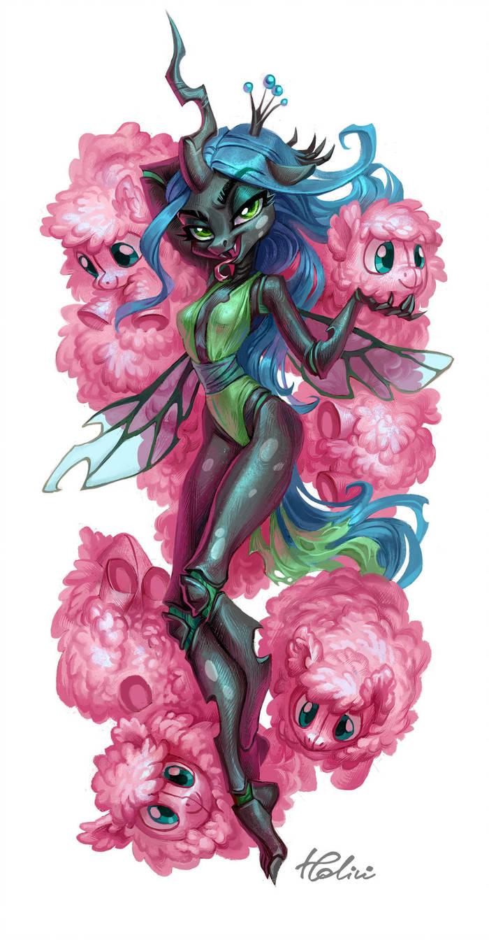Fluff My Little Pony, Queen Chrysalis, Fluffle Puff, Original Character, Антро, MLP Edge, Holivi