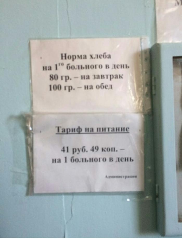 Тариф на питание в больнице Больница, Питание