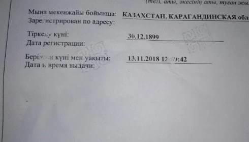 Шестилетнего ребенка прописали в 19 веке в Караганде Казахстан, Караганда, Опечатка