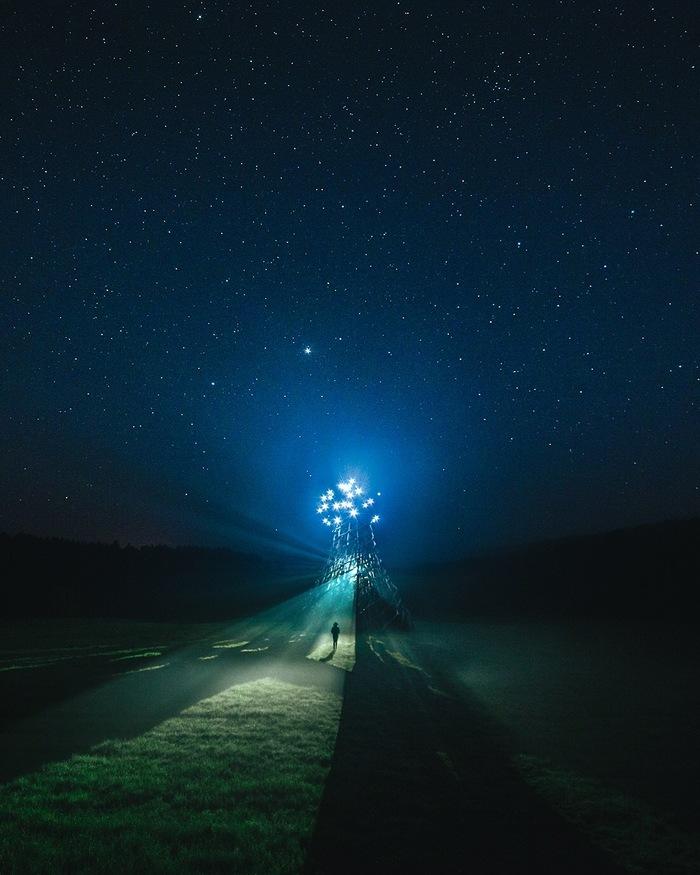 Маяк на Угре Фотография, Никола-Ленивец, Интересные места, Калужская область, Астрофото, Путешествие по России, Звездное небо