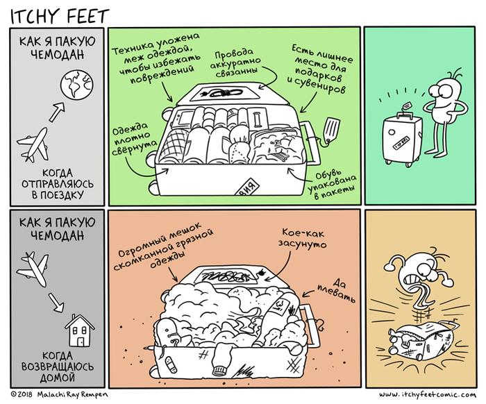 Слабеющая Дисциплина Itchy Feet, Комиксы, Путешествия, Чемодан, Перевод