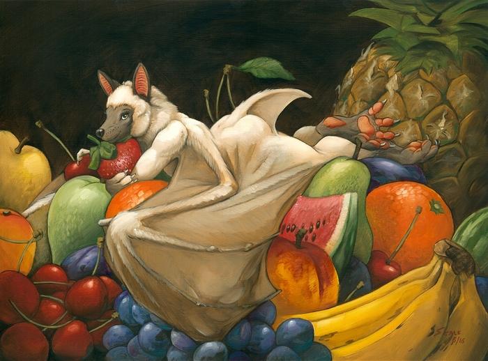 Fruit bath Фурри, Арт, Антро, Фрукты, Furry Bat, Scale