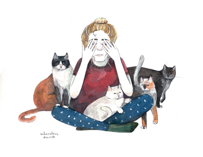 Коты Арт, Рисунок, Скетч, Кот, Девушки, Графика, Акварель, Иллюстрации