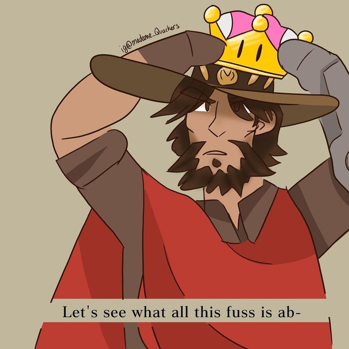 Нет! Только не Маккри. Overwatch, Игры, Комиксы, McCree, Ashe, Super Mario, Супер корона, Crossover, Длиннопост