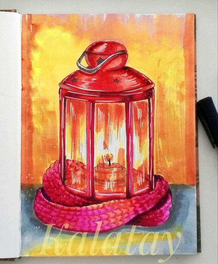 Тепла в ленту Скетч, Скетчбук, Рисунок, Спиртовые маркеры, Арт, Иллюстрации, Тепло, Маркер
