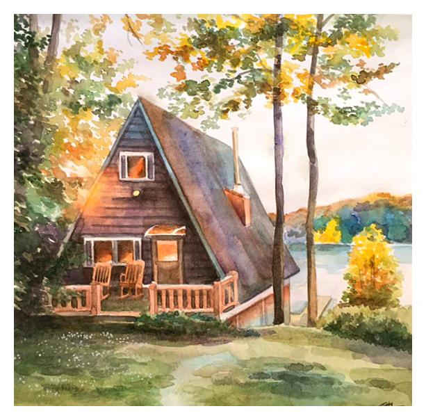 Отдых на озере (Акварель) Рисунок, Творчество, Домик в лесу, Озеро, Акварель, Okta23, Длиннопост, Дом у озера, Дом