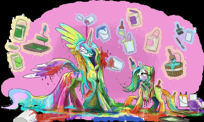 Битва красками My Little Pony, Princess Celestia, Rarity, Краски