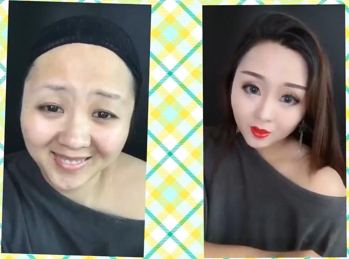 До и после макияжа (азиатки) Макияж, Без макияжа, Длиннопост, Азиатка