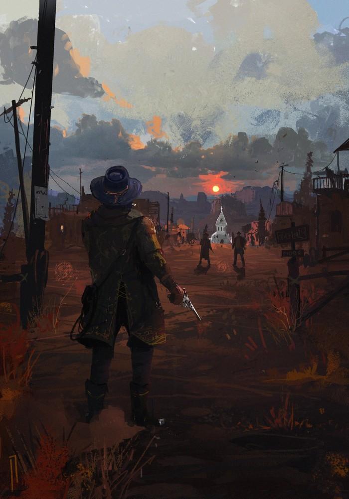 Sunday prayer Арт, Рисунок, Дикий Запад, Закат, Red Dead Redemption 2