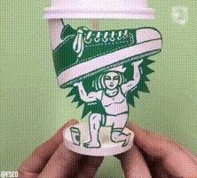 Что ещё можно придумать со стаканчиком Starbucks Стакан, Starbucks, Длинногиф, Гифка