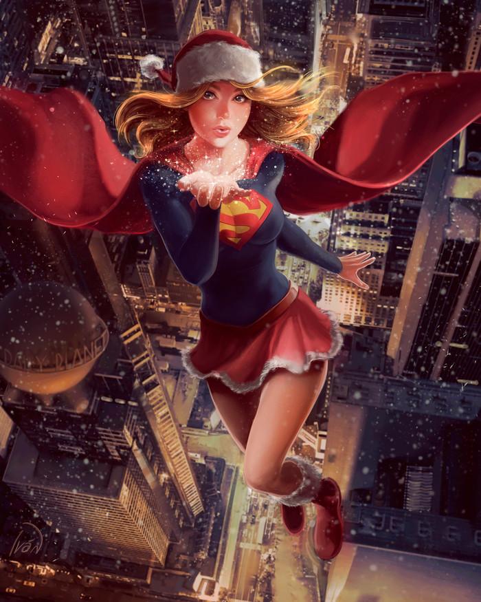 Supergirl Арт, Рисунок, Супергерл, Девушки, Зима, Супергерои