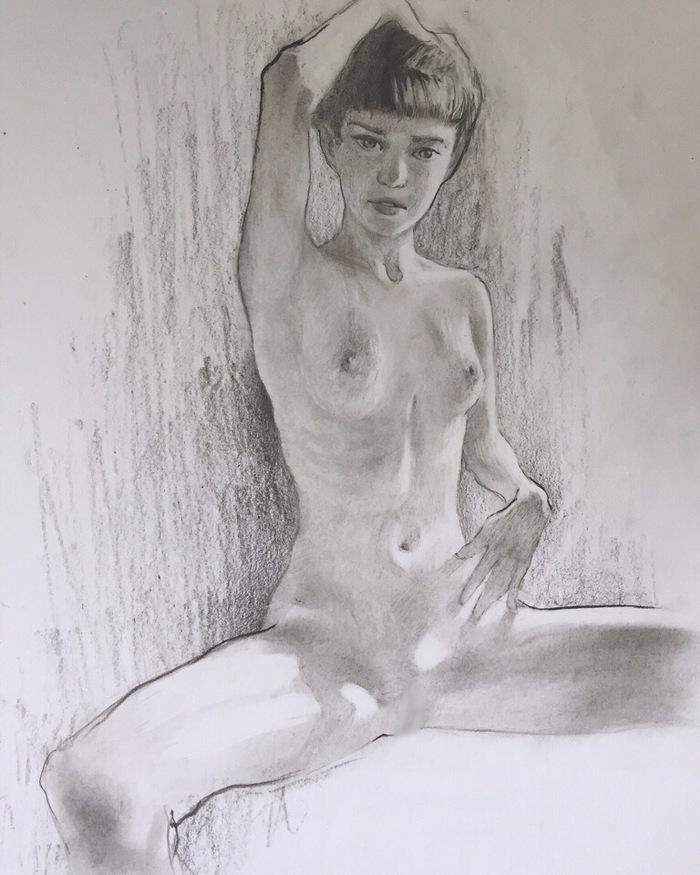 Обнаженная. Рисунок, Девушки, Обнаженка, Скетч, Эротика, Рисунок карандашом