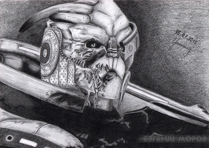Гаррус Вакариан Рисунок, Карандаш, Mass Effect, Game Art, Игры, Гаррус, Рисунок карандашом