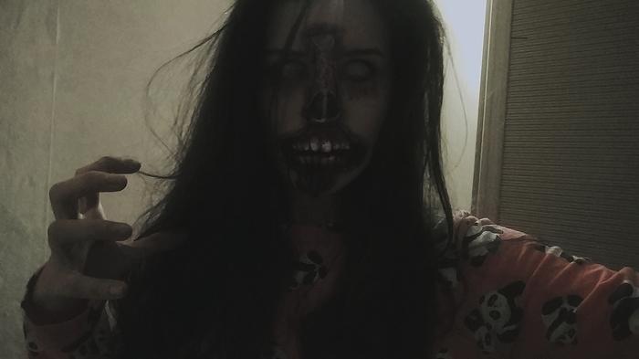 """Torn-off face (Amareck).Сделала грим """"разорванное лицо"""".Нормально? Да, с носом косяк + когда говоришь зубы свои видны :(( Sfx, Sfx cosplay, Косплей, Грим, Оторванное лицо, Хэллоуин, Крипота, Видео, Длиннопост"""