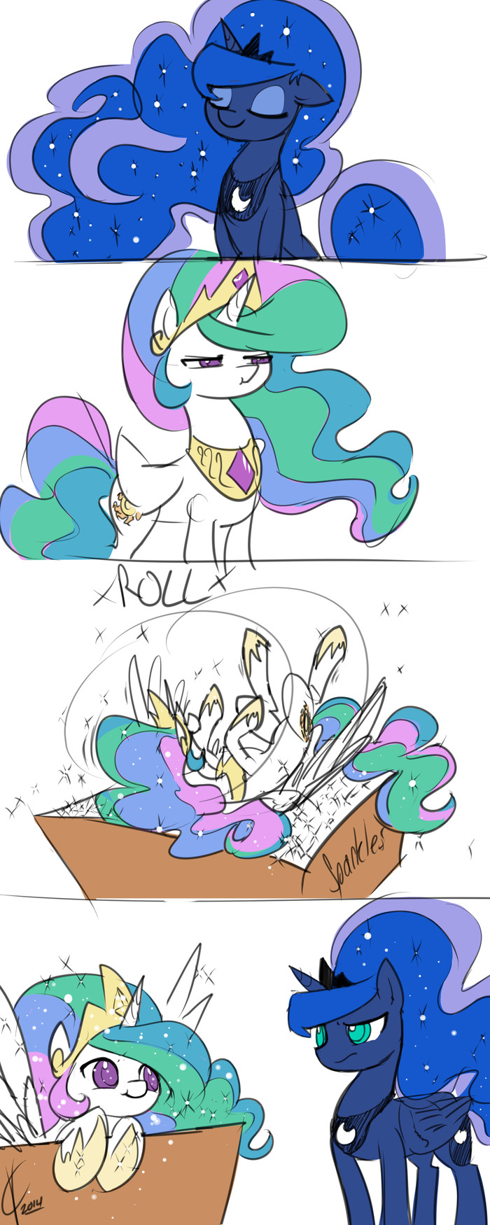 Hair Sparkles My Little Pony, Комиксы, Princess Celestia, Princess Luna, Блестки, Valcron, Длиннопост