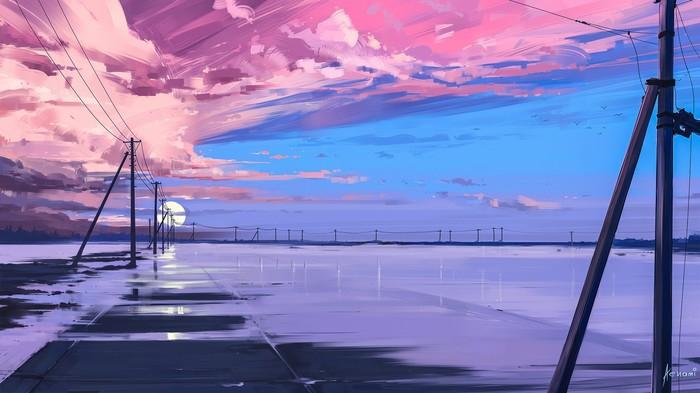 Endless Арт, Рисунок, Небо, ЛЭП, Alena Aenami