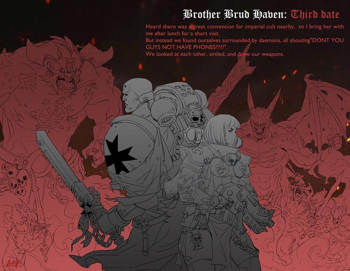 Брат Бруд Хейвен: Третье свидание Warhammer 40k, Black Templars, Adepta Sororitas, Diablo Immortal, Wh Art, Wh humor