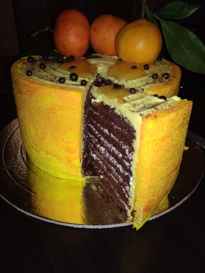 Когда за окном монохромный пейзаж.. Японский бисквит, Мандариновое настроение, Торт, Шоколадный торт, Выпечка, Длиннопост