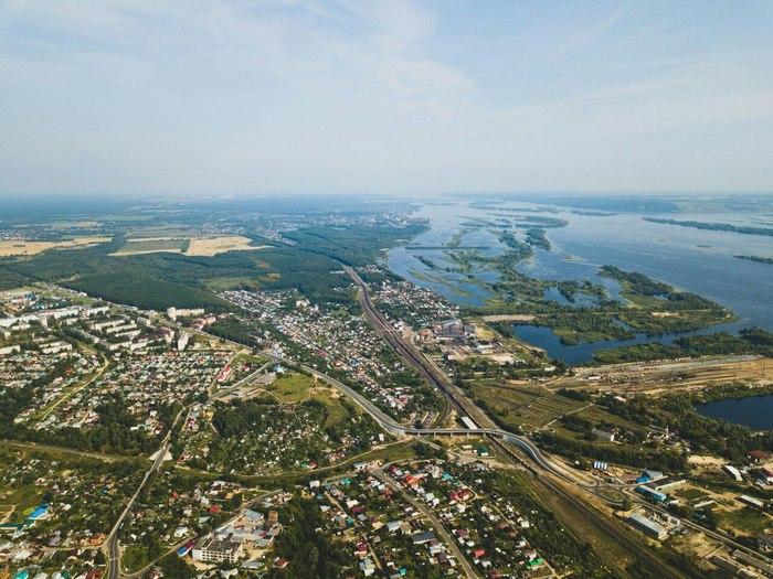 Безмятежный городок на Волге, фото с высоты