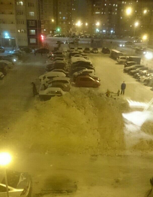 Когда просят убрать машины с парковки... Снег, Россия, Уборка, Машина, Парковка, Зима, Длиннопост