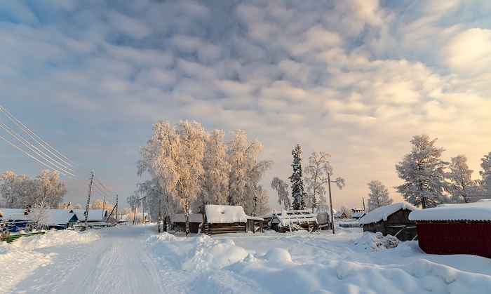 Утро в сибирской деревне Зима, Утро, Деревня, Фотография, Мороз