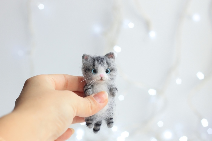 Маленький котёнок Валяние, Сухое валяние, Творчество, Арт, Кот, Ручная работа, Игрушки, Рукоделие без процесса