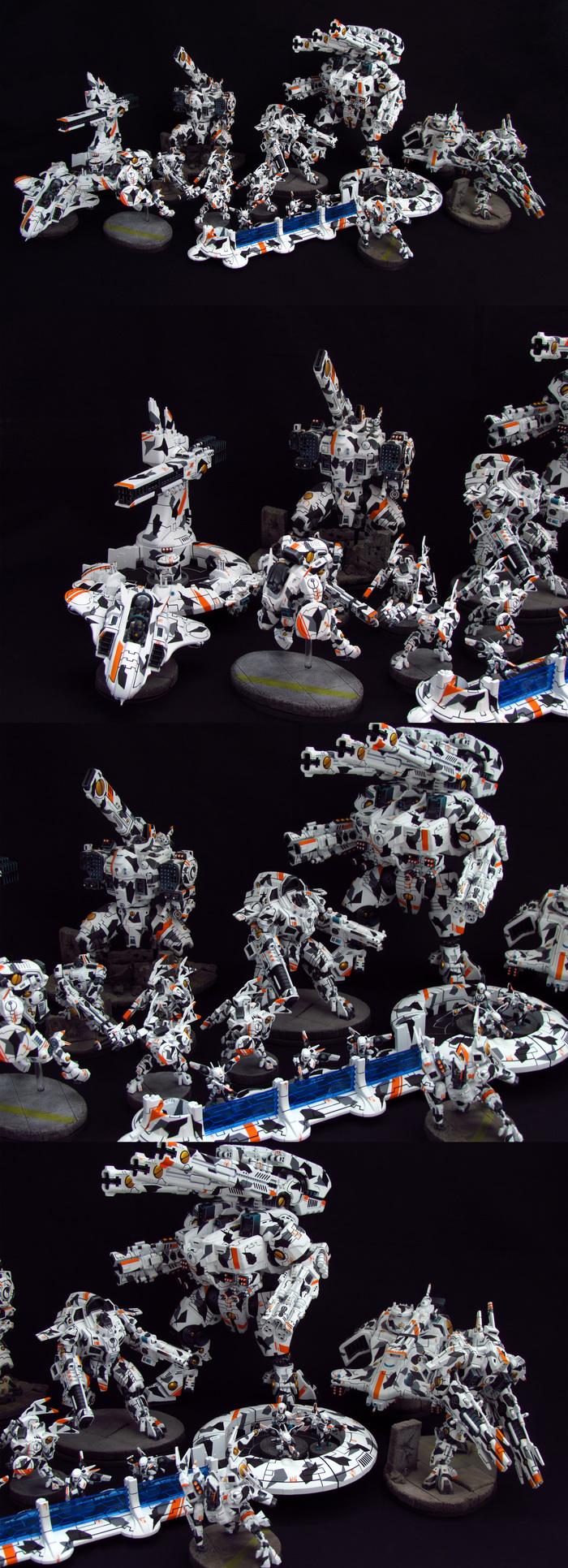 Вся армия Tau WH Miniatures, Warhammer 40k, Tau, Miniatures, Миниатюра, Роспись, Длиннопост