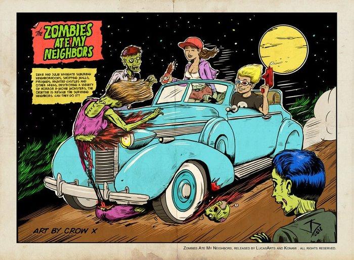 Зомби съели моих соседей LucasArts, Sega, 90-е, ZombiesAteMyNeighbors, Ностальгия, Зомби, Konami, Игры, Длиннопост