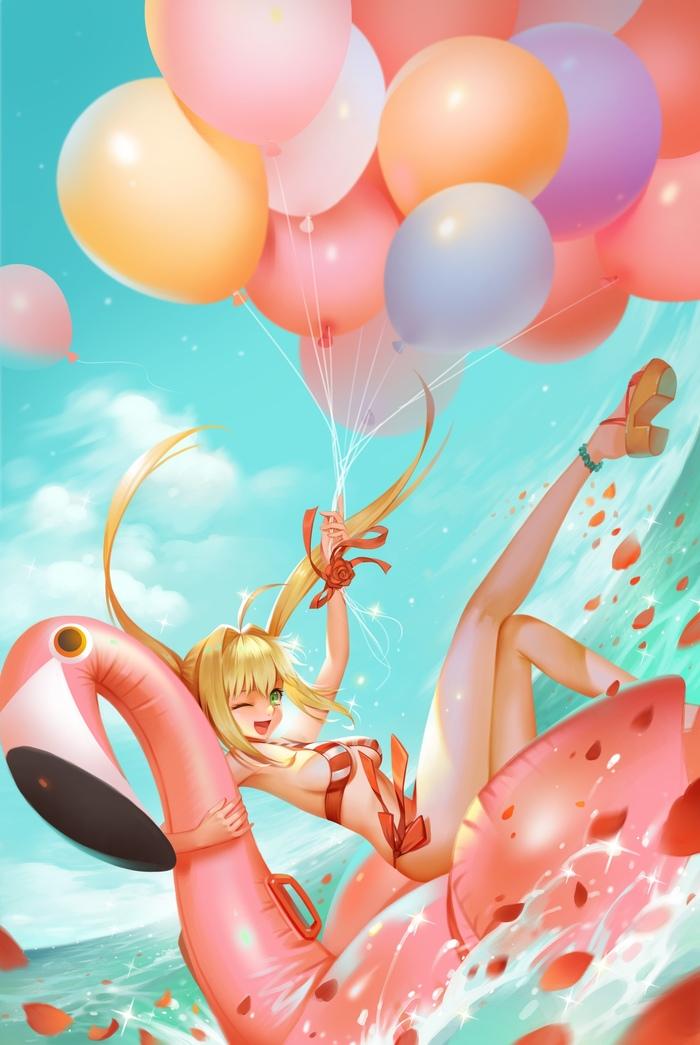 BySteven K.N. Аниме, Арт, Fate, Anime Art, Steven KN, Рисунок, Пляж, Лето, Длиннопост