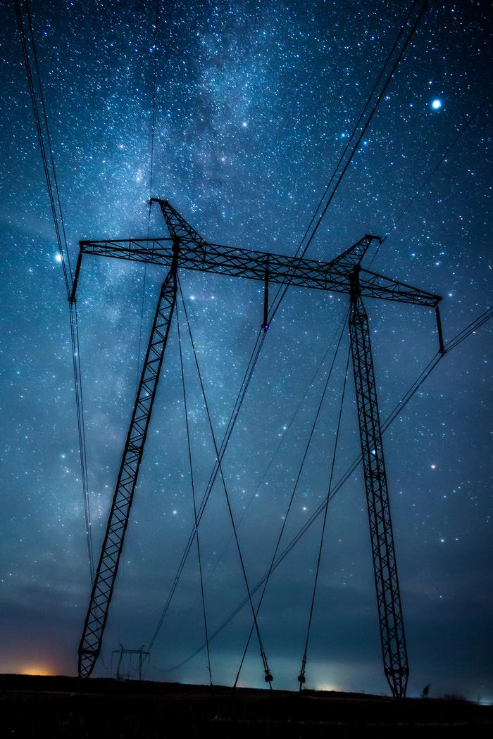 Энергия Фотография, Космос, Ночь, Звездное небо, Млечный путь, ЛЭП