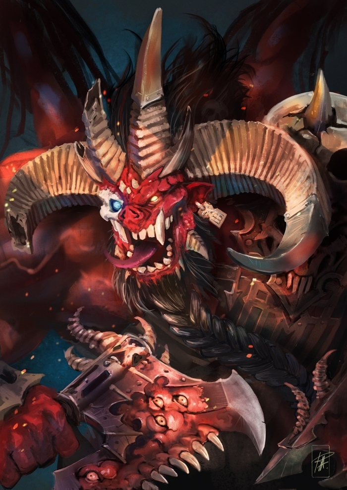 Скарбранд Warhammer 40k, Chaos Daemons, Кхорн, Wh Art, Wh back, Длиннопост