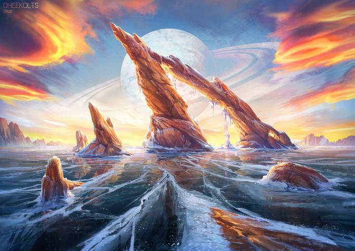 Ледяной пейзаж. Пейзаж, Арт, Живопись, Oheekolts, Рисунок, Этапы, Цифровой рисунок, Лёд