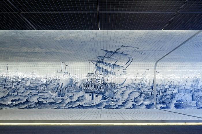 Фреска из 80 000 плиток внутри пешеходного туннеля в Амстердаме. Фреска, Фотография, Красота, Тоннель, Амстердам, Нидерланды, Оригинально, Интересное