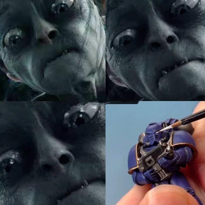 Мое лицо, когда раскрашиваю миньки.