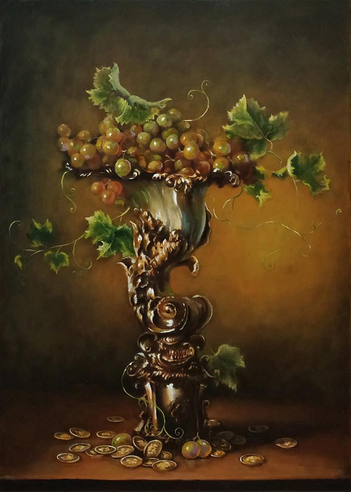Рог изобилия маслом Картина маслом, Рог изобилия, Натюрморт, Картина, Масло, Виноград, Ягоды
