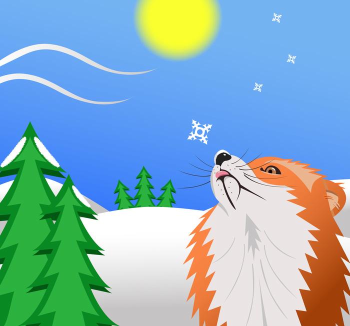 Лиса Векторная графика, Лиса, Зима, Снег