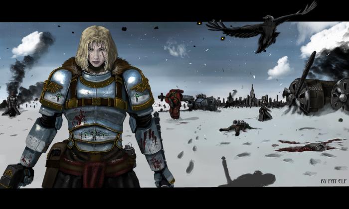 Комиссар Райвель (by Fat Elf) Warhammer 40k, Комиссар Райвель, Комиссар, Имперская гвардия, Арт, Картинки